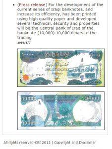 10,000 new iraqi dinars