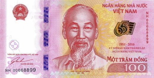100 vietnamese dong 65th anniversary front