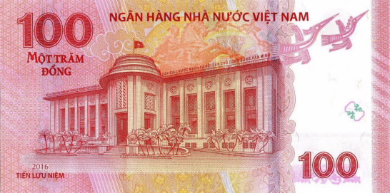 100 vietnamese dong 65th anniversary reverse