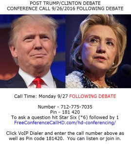 Post 1st Presidential Trump Clinton Debate Conference Call