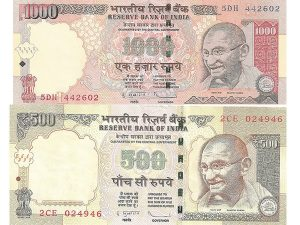 indian rupee 500 and 1000 notes