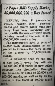 1923 German hyperinflation new york times